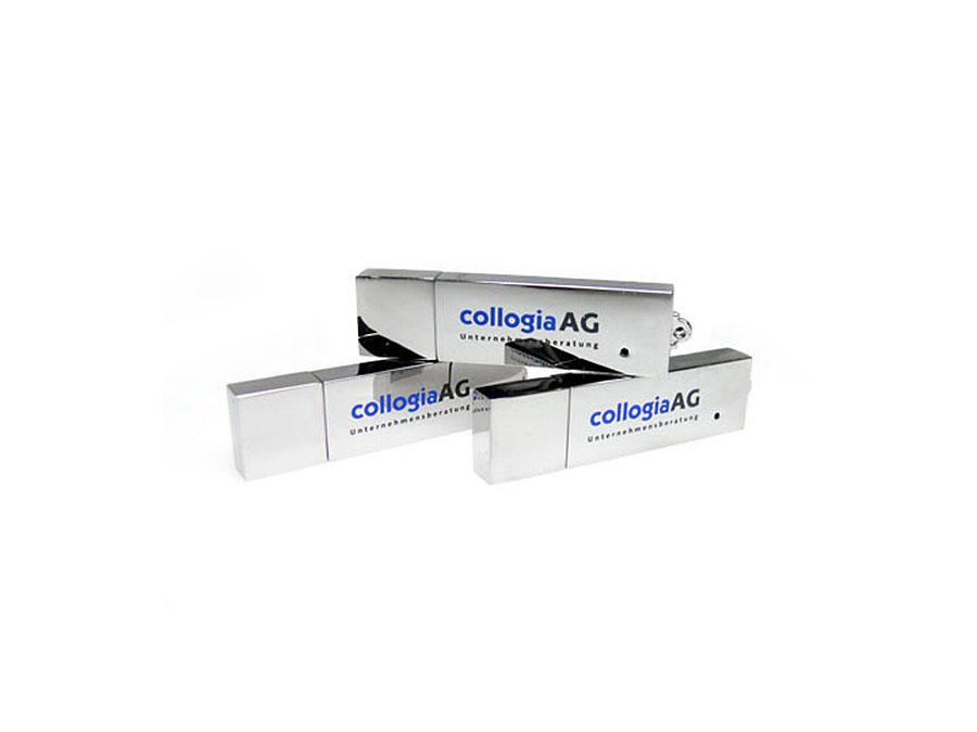 Chrom USB-Stick mit Logodruck in zwei Farben