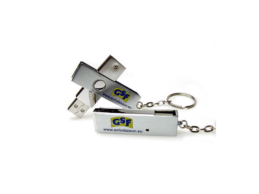 USB-Stick mit Swing Twister Bügel in Vollmetallausführung mit 2 farbigem Logodruck