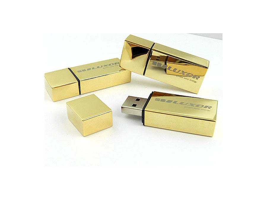 Goldener USB-Stick hochglänzend oder matt graviert oder bedruckt mit Logo als Give Away