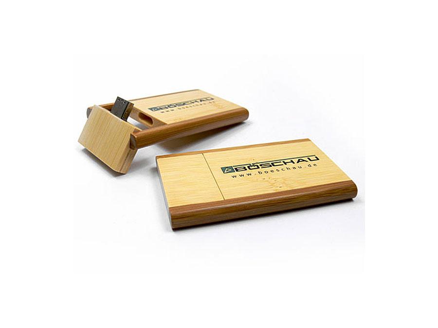 Holz USB Stick Visitenkarte mit Logo Aufdruck als Give Away Werbegeschenk
