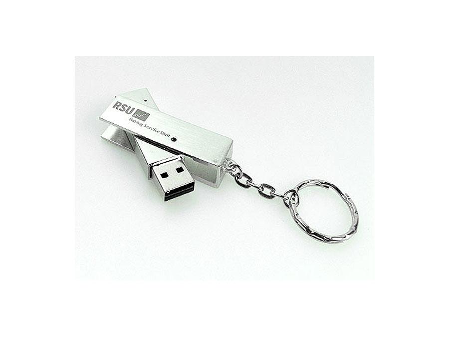 Ausklapp USB-Stick mit Schlüsselring Logo graviert