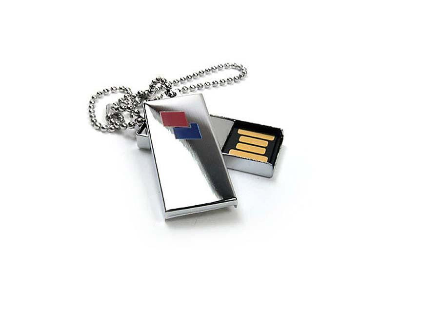 Kleiner Mini USB-Stick mit Logo und Kugelkettchen
