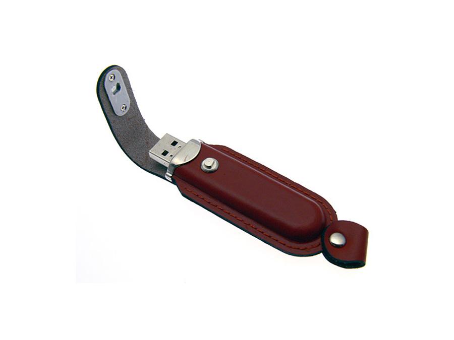 USB-Stick aus Leder mit Logo in Lederprägung als Werbegeschenk mit Geschenkverpackung