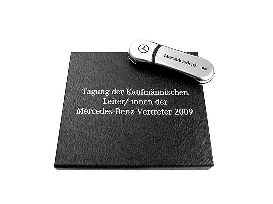 Hochwertier Chrom USB-Stick mit Logo in Magnetklappbox