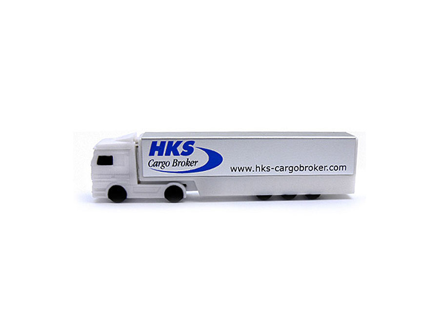 Weißer USB-Stick als Truck mit Logo