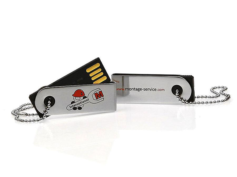 USB-Stick Nano Montage Service aus Metall bedruckt