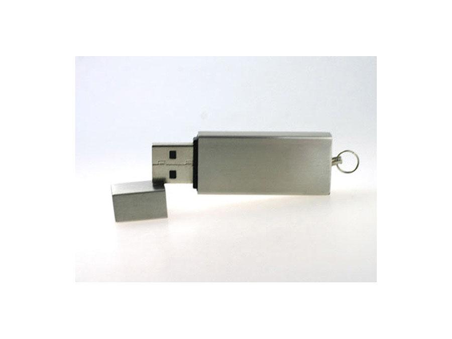 Metall USB-Stick mit Deckel schlicht matte Oberfläche mit Logodruck als Give Away