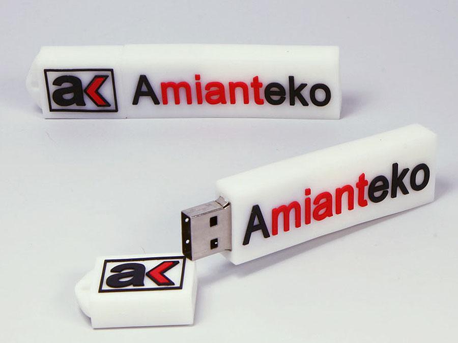 Amianteko USB-Stick in individueller Form eines flachen 2D logos