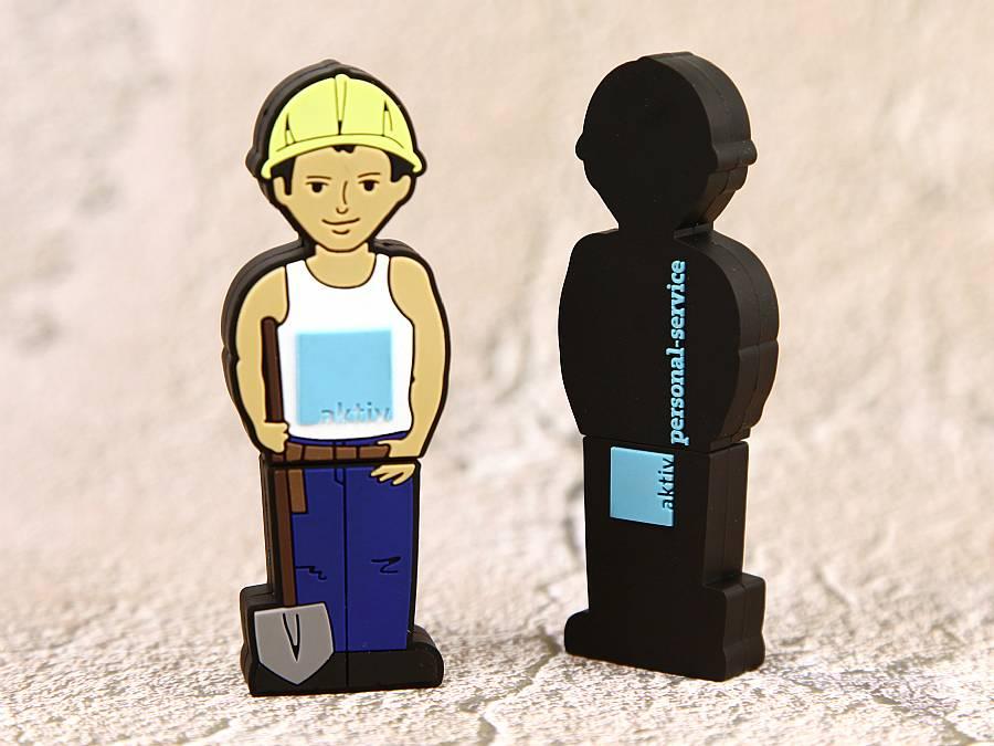 bau arbeiter usb stick mit logo in sonderform