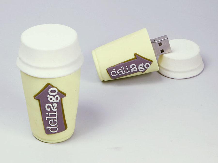 Coffee to go Kaffebecher mit Deckel als USB-Stick mit Logo