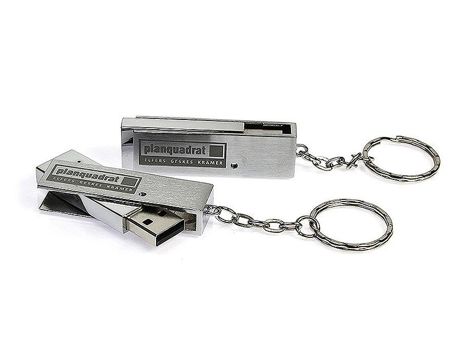 Metall USB-Stick mit drehbarer Klammer mit schwarzer Gravur