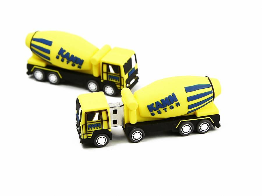 gelber betonmischer usb stick mit firmenlogo beton bau