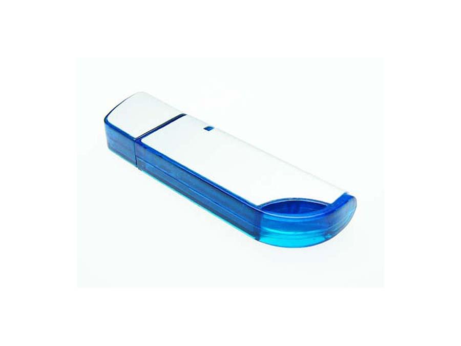 Hochwertiger blauer USB-Stick aus Kunststoff mit Logo bedruckt oder graviert