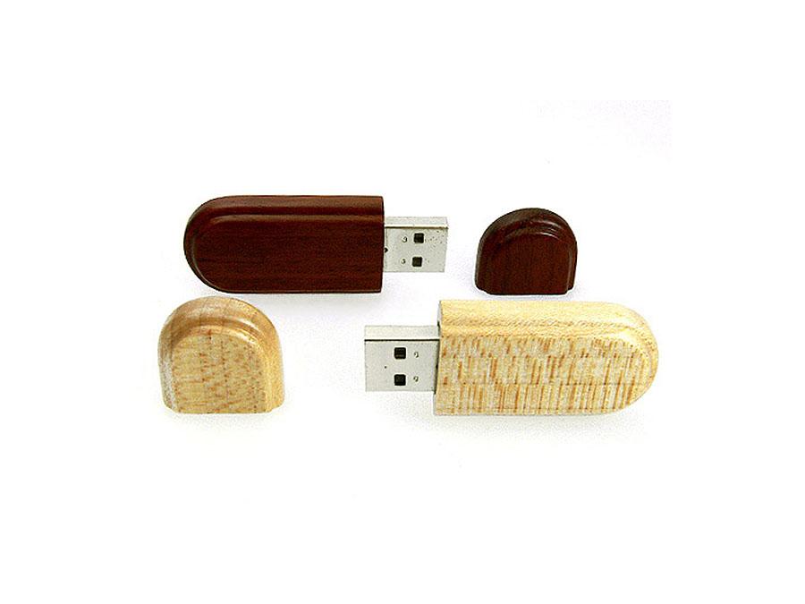 Holz USB Stick Buche hell und Nussbaum mit Logo