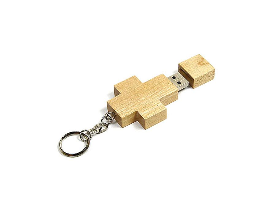 Holz Kreuz USB-Stick mit Logo