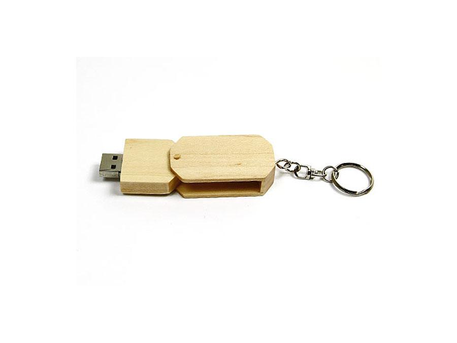 Drehbarer Holz USB-Stick am Schlüsselanhänger