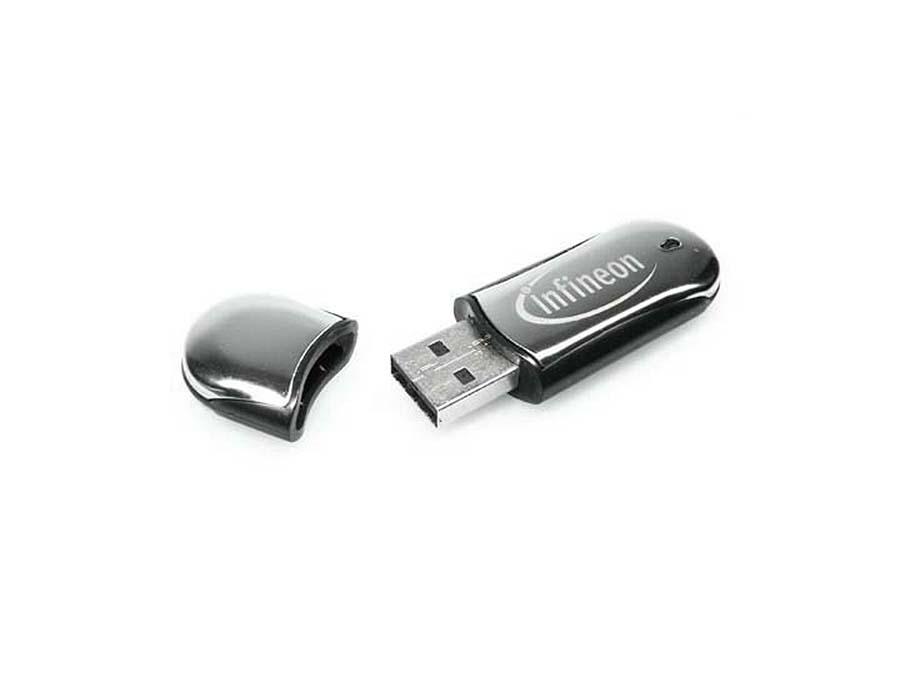 Infineon USB-Stick aus Metall mit Logo gravur