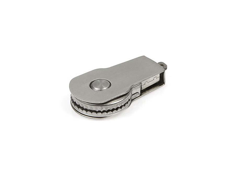 Kleiner runder Metall USB-Stick zum drehen ohne Deckel