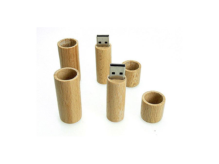 Lippenstift USB-Stick rund und aus Holz als Werbeartikel