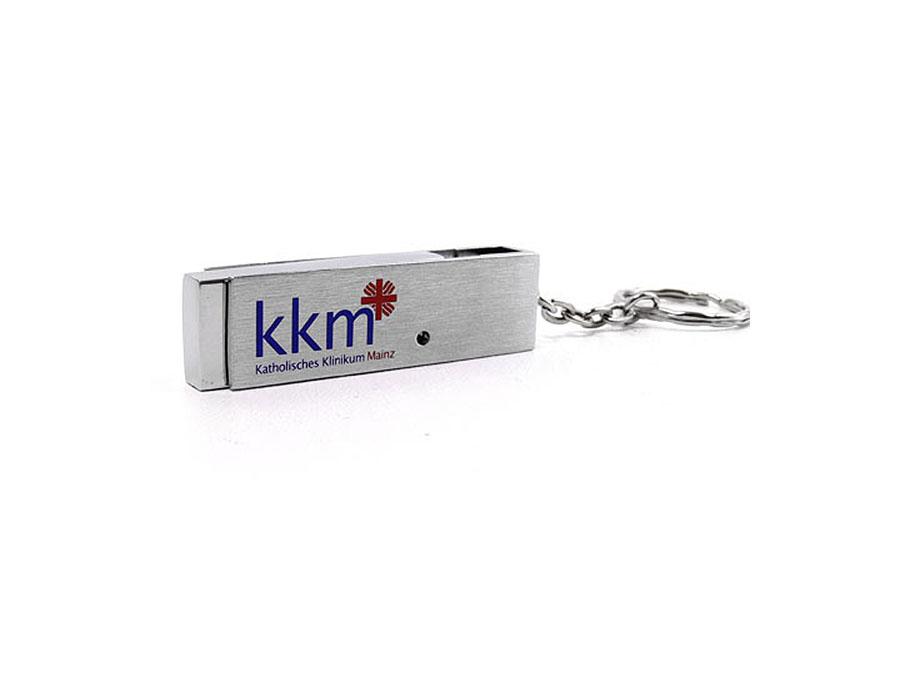 Metall USB-Stick mit Drehbügel 2farbig bedruckt