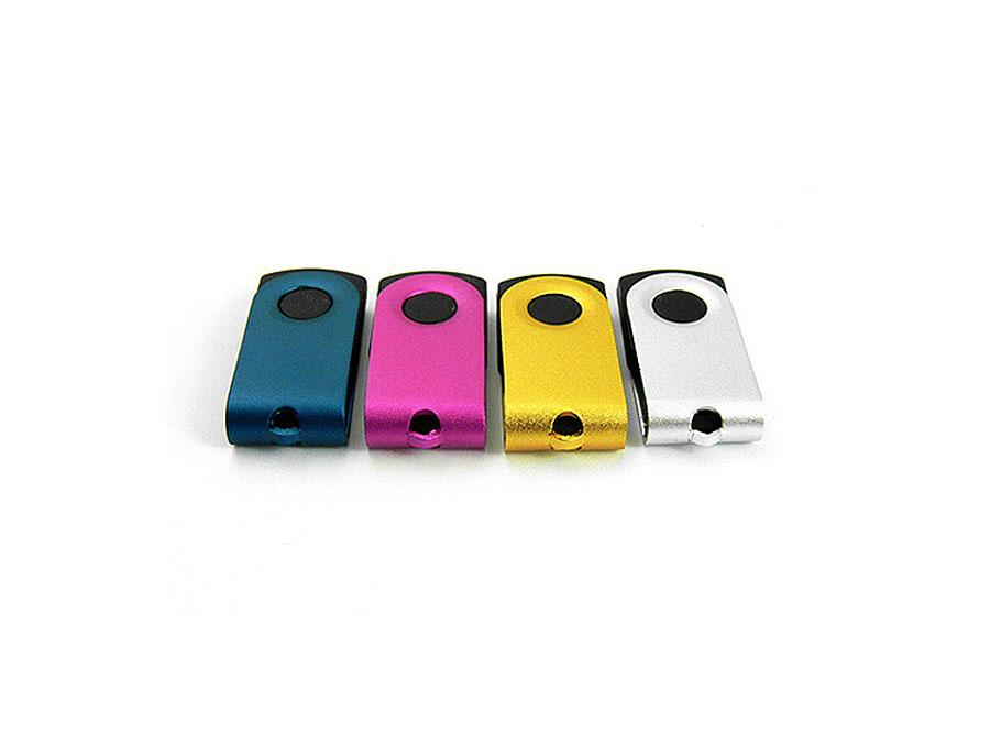 Mini USB-Stick zum drehen mit Metallbügel zum gravieren eines Logos