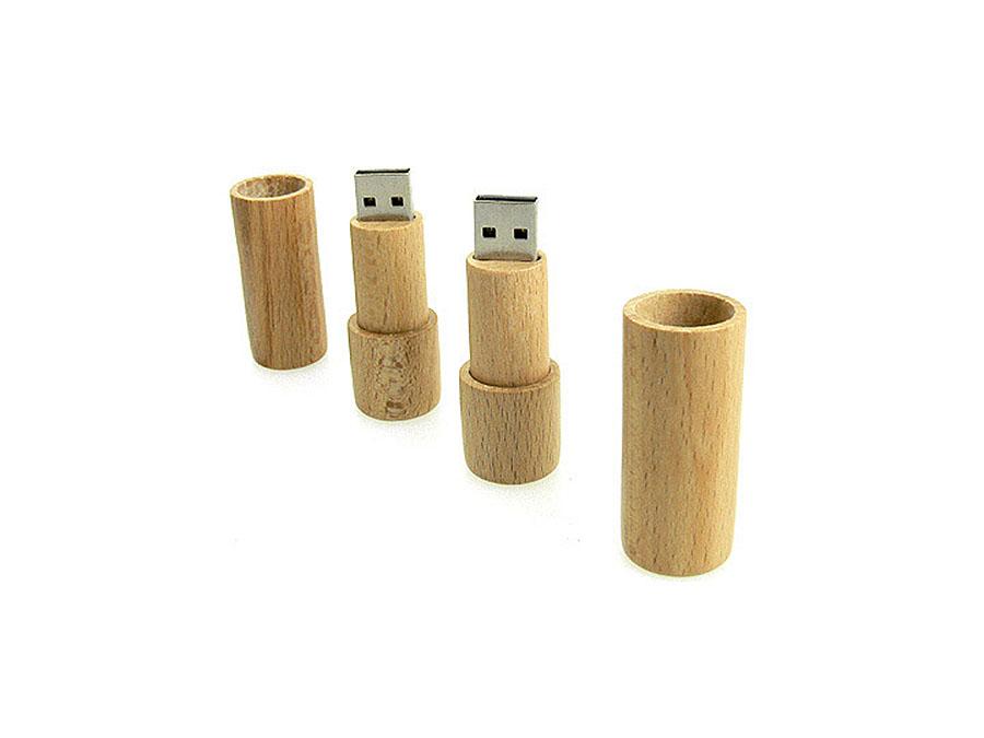 runder Holz USB-Stick als Werbeartikel mit Logo