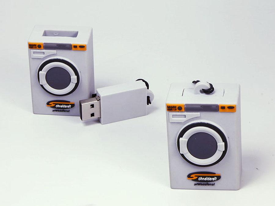 Schneldereit Waschmaschine mit USB-Stick und Umhängeband Lanyard mit Logo als Kundengeschenk
