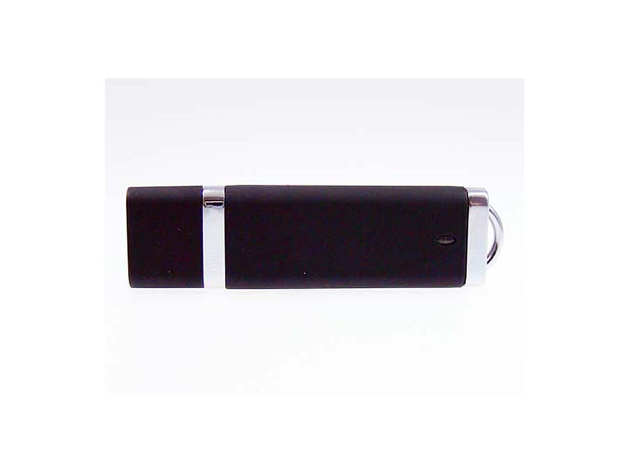 schwarzer Werbeartikel USB-Stick aus Kunststoff und Chrom
