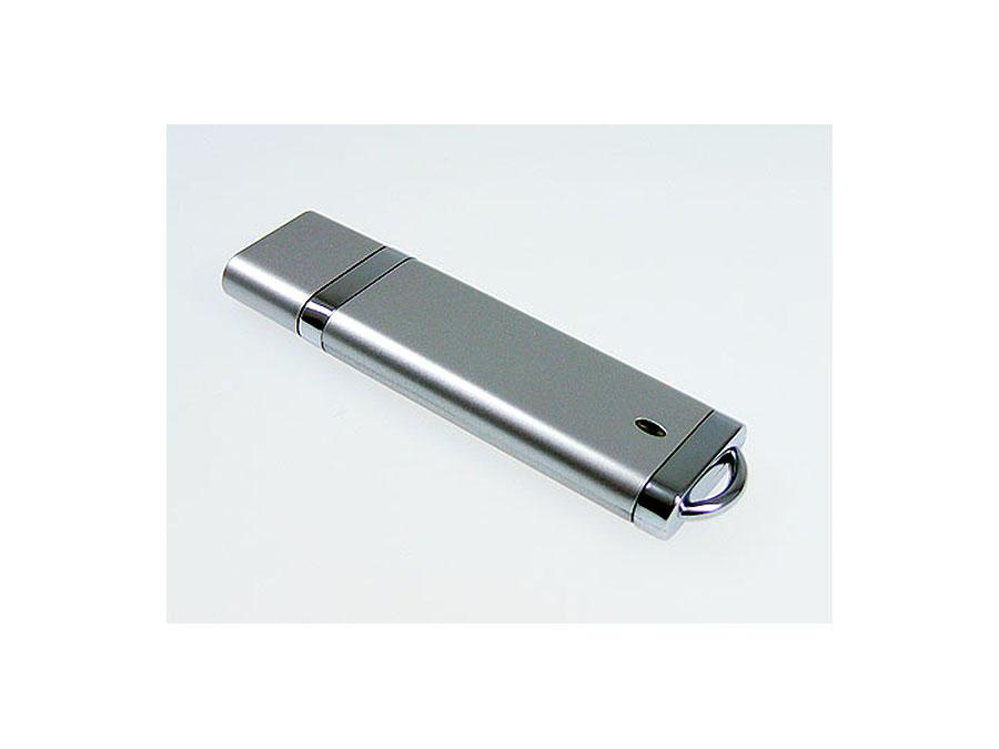 silberner Werbeartikel USB-Stick mit Chromleisten