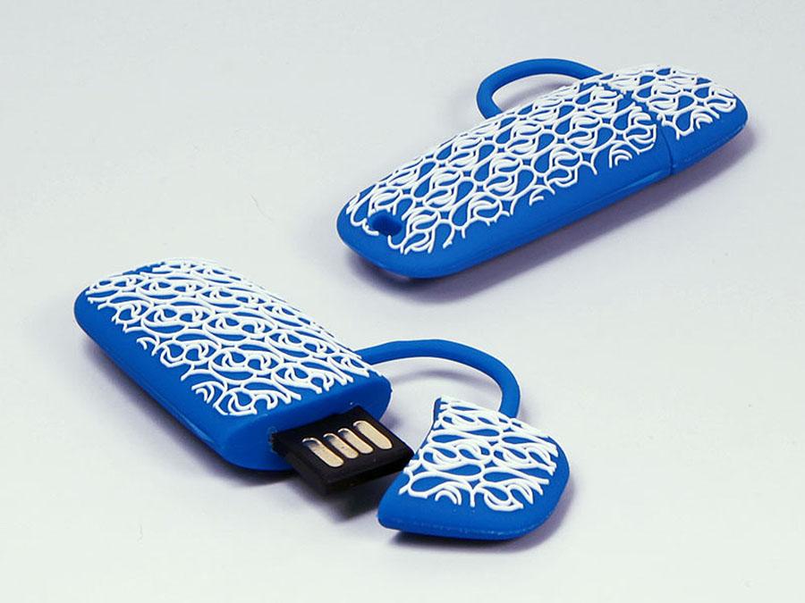 Tasche mit Muster und Logo als individueller USB-Stick in Wunschform