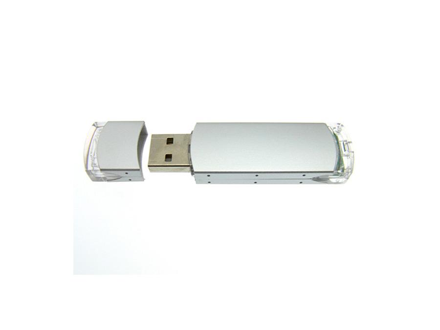 Transparenter Kunststoff USB-Stick mit Metall zum bedrucken udn gravieren eines Logos