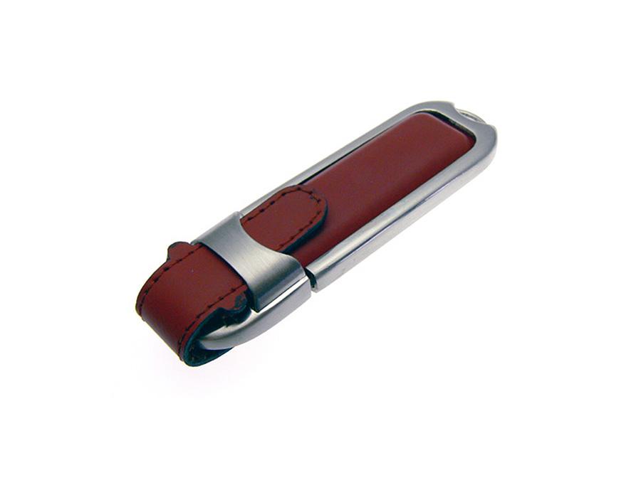 USB-Stick aus Leder mit Logo in Lederprägung als Messegeschenk