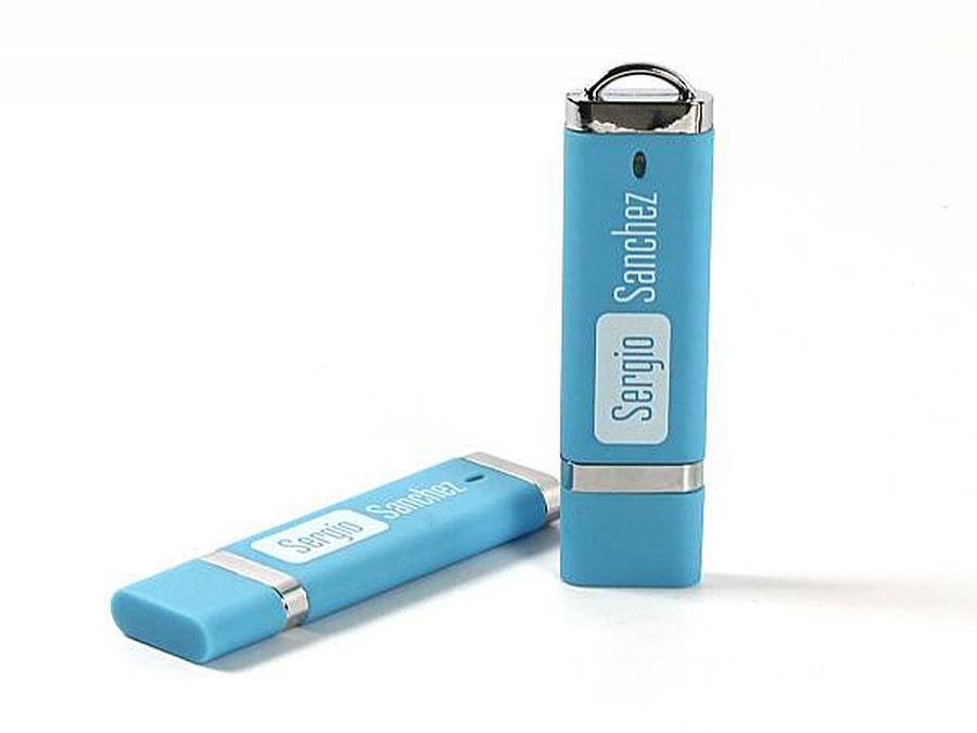 USB-Stick in Hausfarbe mit Logodruck