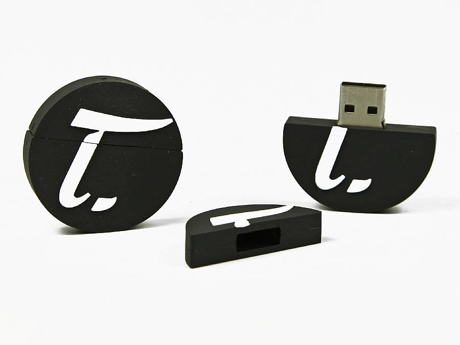 usb stick rund logo werbung firmenlogo schwarz