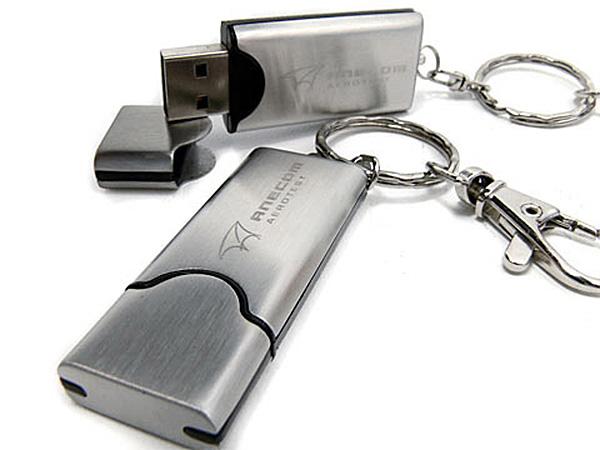MEtall USB-Stick mit LogoGravur und Karabiener