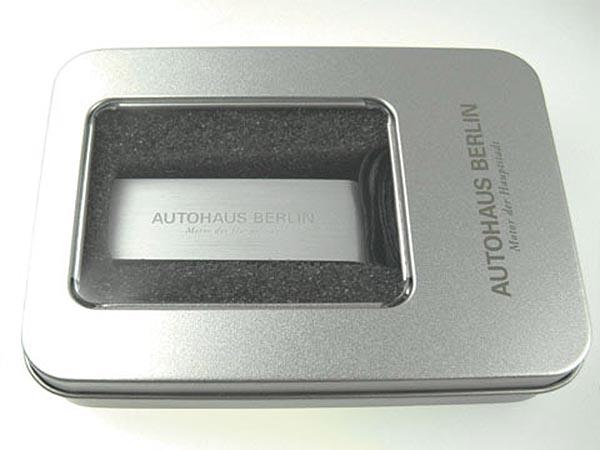 ALuminium USB-Stick mit mehrfarbigem  Logo bedruckt in Metallverpackung