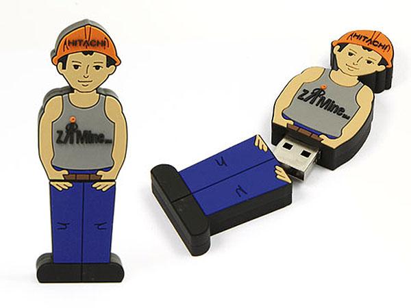 hitachi Bauarbeiter USB-Stick mit Logo