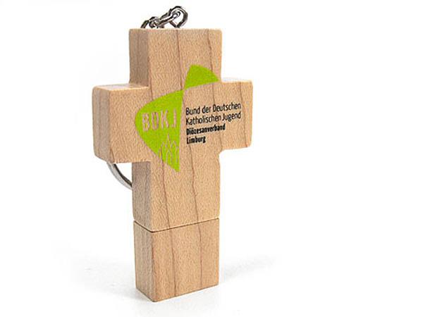 USB Holzkreuz mit zweifarbigem Druck