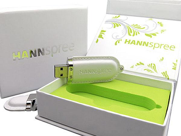 USB-Stick aus Leder mit Logo in Lederprägung als Werbegeschenk mit Geschenkbox