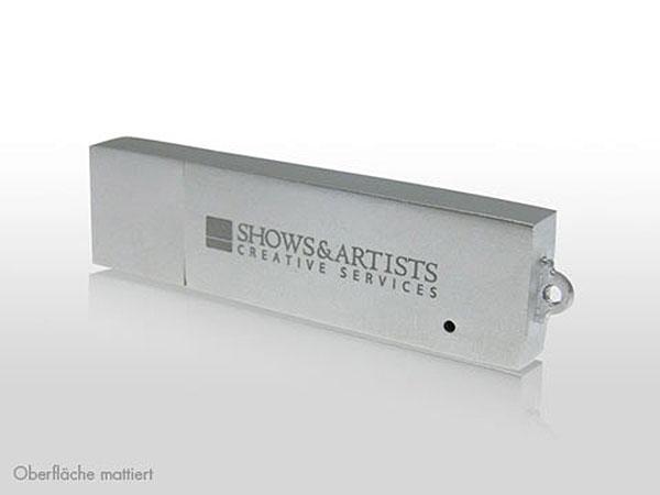 Massiver Metall USB Stick mit Deckel Vollmetall mit Gravur oder Logoprint in bedruckter Geschenkverpackung