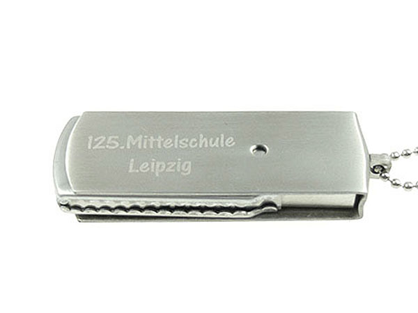 Metall USB Stick mit Aufschrift graviert