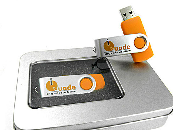 Metall Swing USB Stick buegel orange logo
