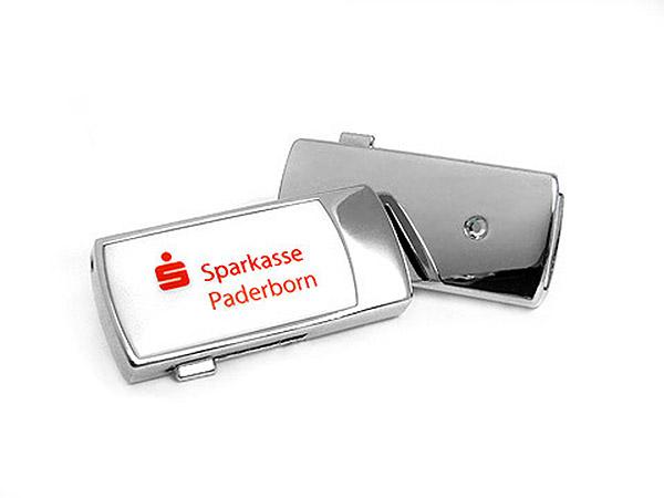 Sparkasse Mini USB-Stick in weiß mit Logo bedruckt