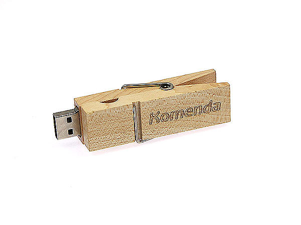 USB-Stick Holzwäscheklammer mit Logo