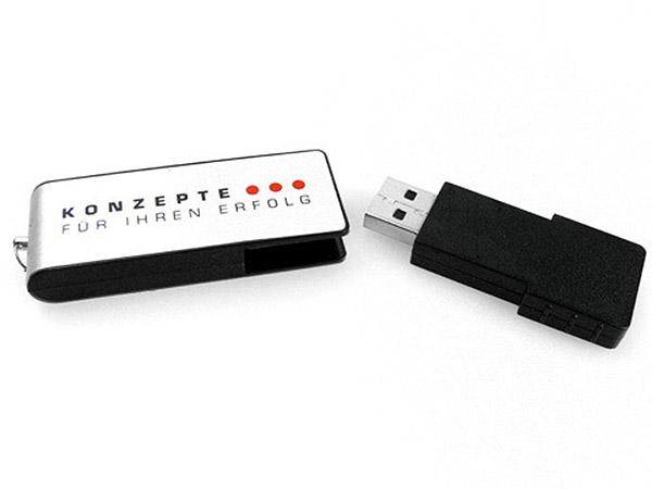 ALuminium USB-Stick mit mehrfarbigem  Logo bedruckt