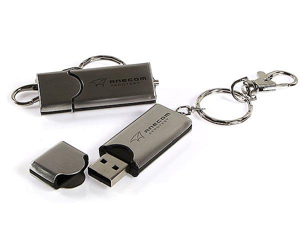 MEtall USB-Stick mit Logo Gravur und Karabiener