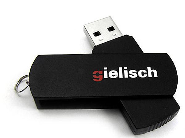 Swing USB-Stick zum Drehen aus Metall mit farbigem Logodruck