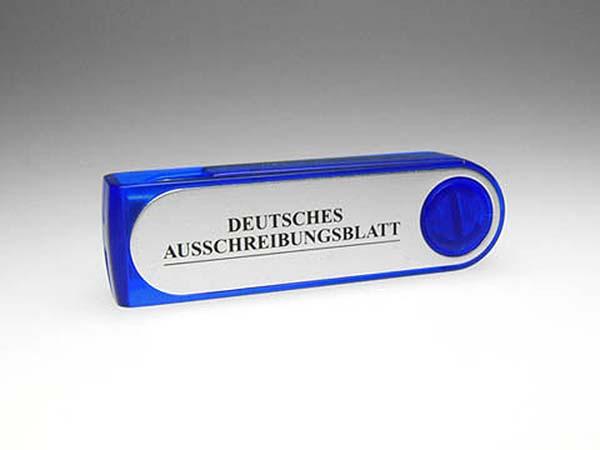 Alu USB Stick blau mit Aufdruck zum drehen