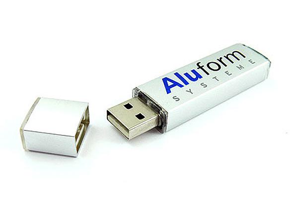 aluform alu usb stick werbetraeger mit Logo zweifarbig bedruckt