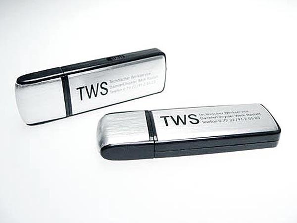 Aluminium Werbeartikel USB-Stick mit TWS Logo bedruckt